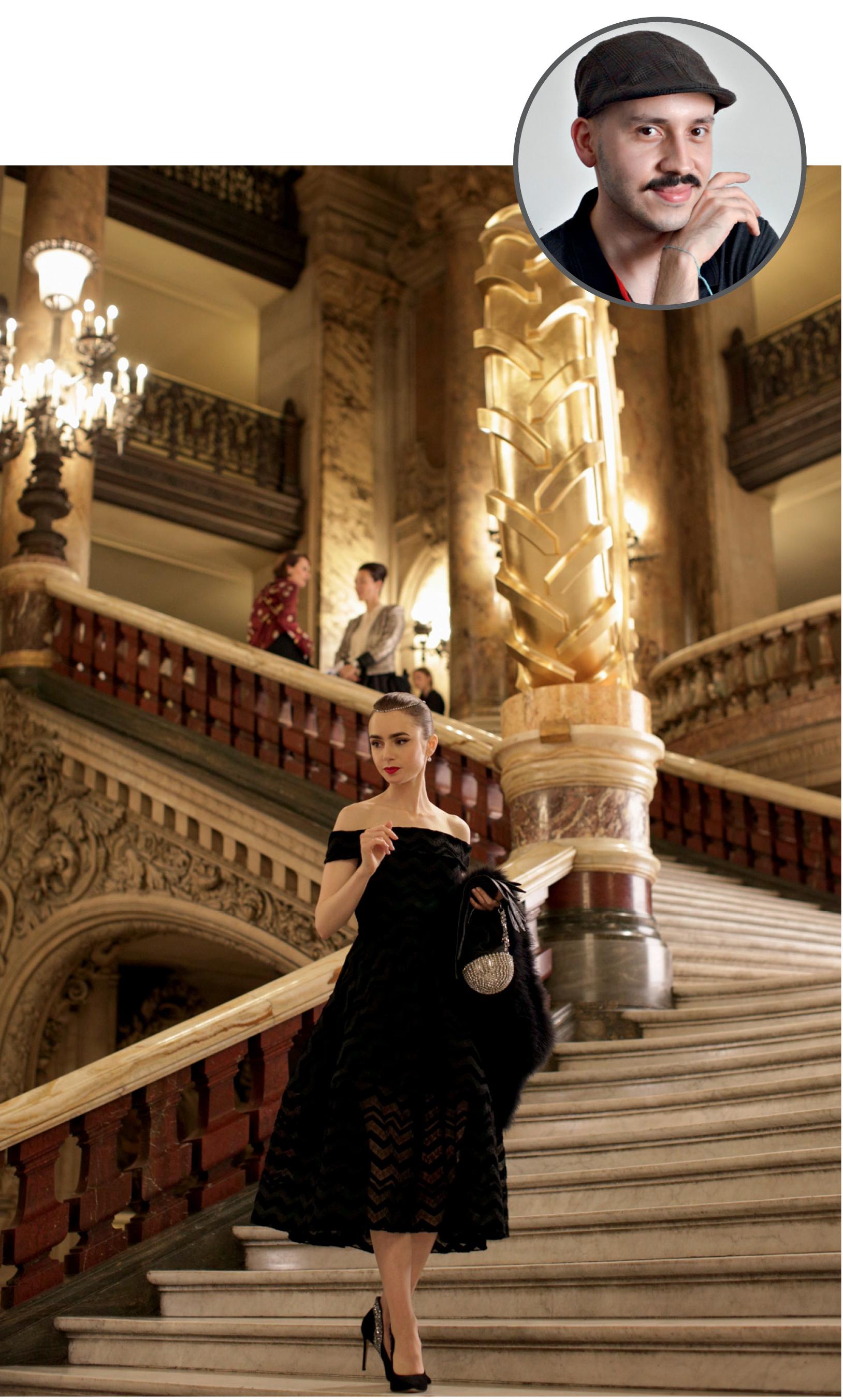 Foto de Humberto com uma imagem ilustrativa da série Emily em Paris
