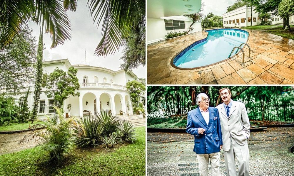 Os jardins e a piscina, projetados por Burle Marx e Di Cavalcanti; ao lado, Ribas e José Geraldo Quartim, presidente da UND