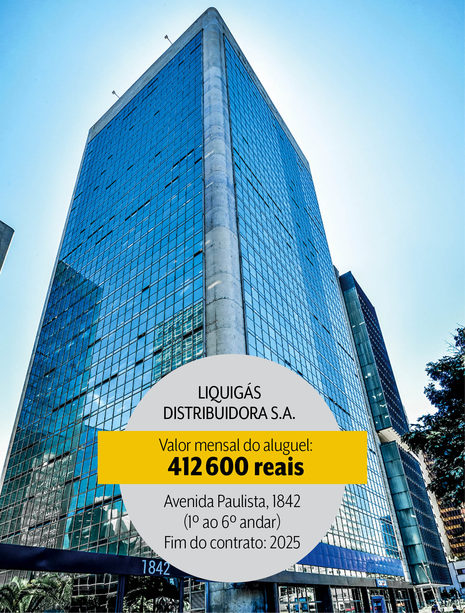 Seis andares por 400 mil reais por mês: aluguel pago pela Liquigás na capital