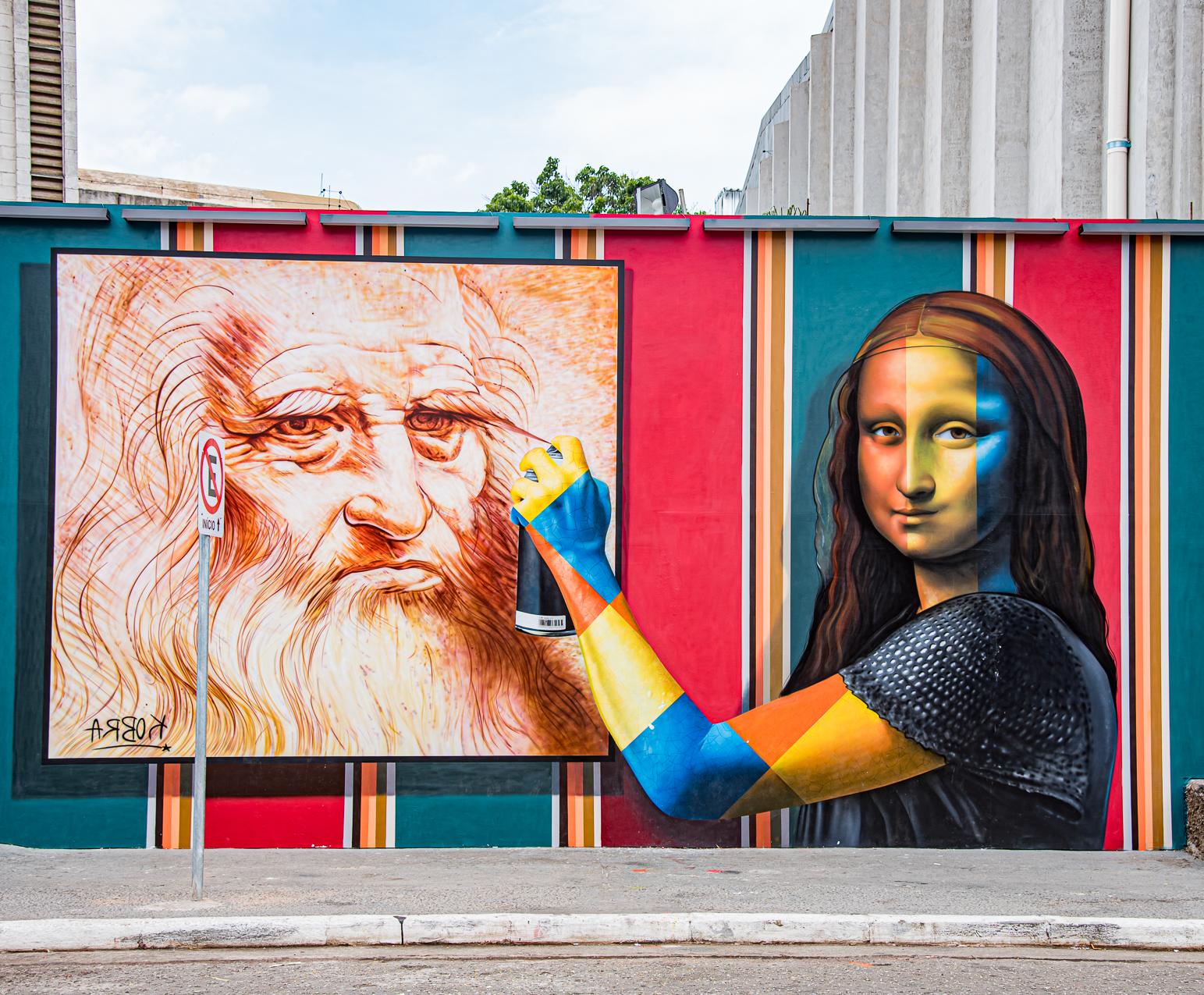 Releitura tridimensional de Mona Lisa, painel pintado por Eduardo Kobra no MIS Experience