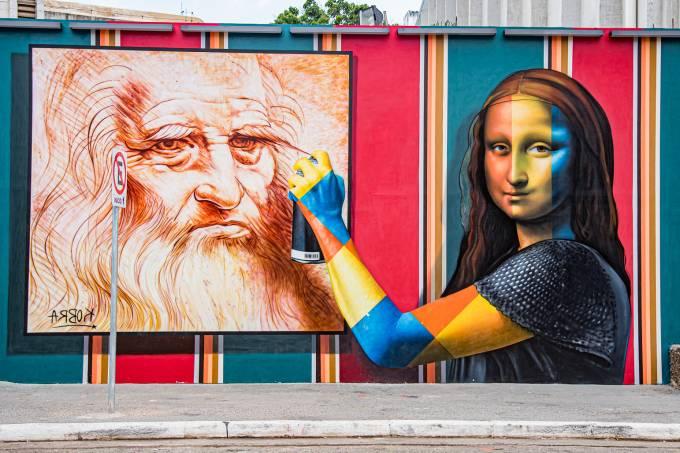 Releitura tridimensional de Mona Lisa, painel pintado por Eduardo Kobra no MIS Experience, em 2019