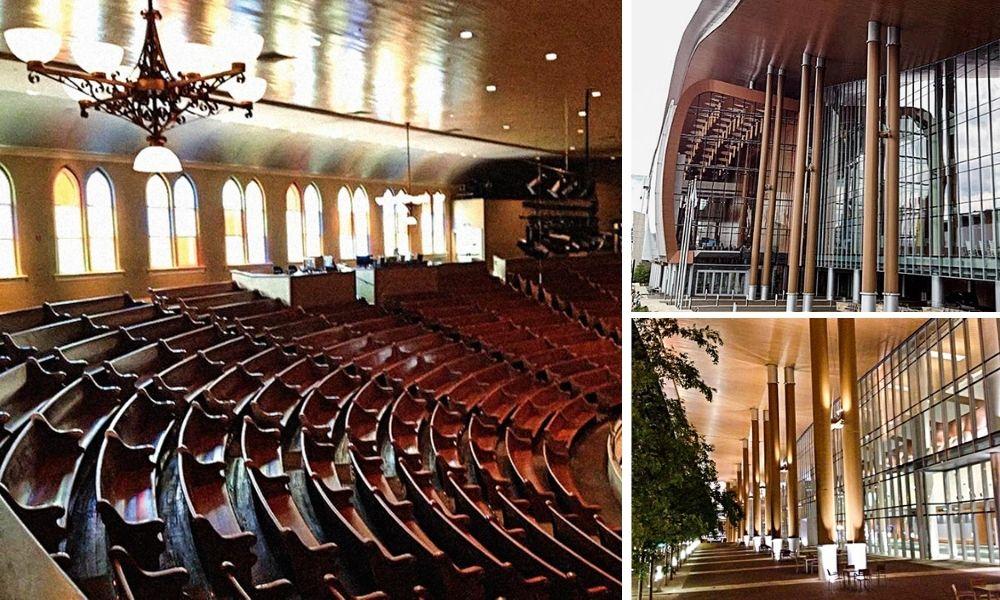 Três imagens do Nashville Music Center, duas externas e uma interna