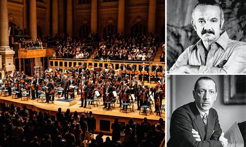 Orquestra da Osesp à esquerda, retratos de Piazzolla e Stravinsky à direita