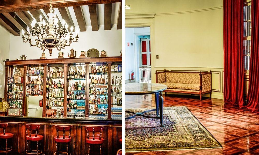 À esquerda, o bar trazido pelo sócio-fundador Assis Chateaubriand da Inglaterra; à direita, detalhes de salão: 2 500 metros construídos