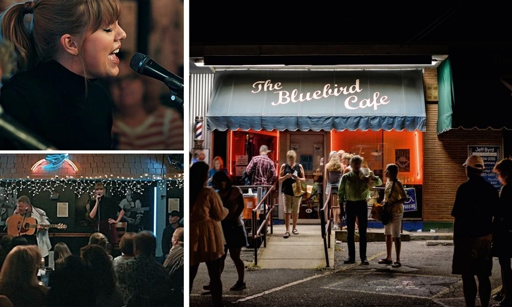 Duas fotos de Taylor Swift, à esquerda, e o Bluebird Cafe à direita