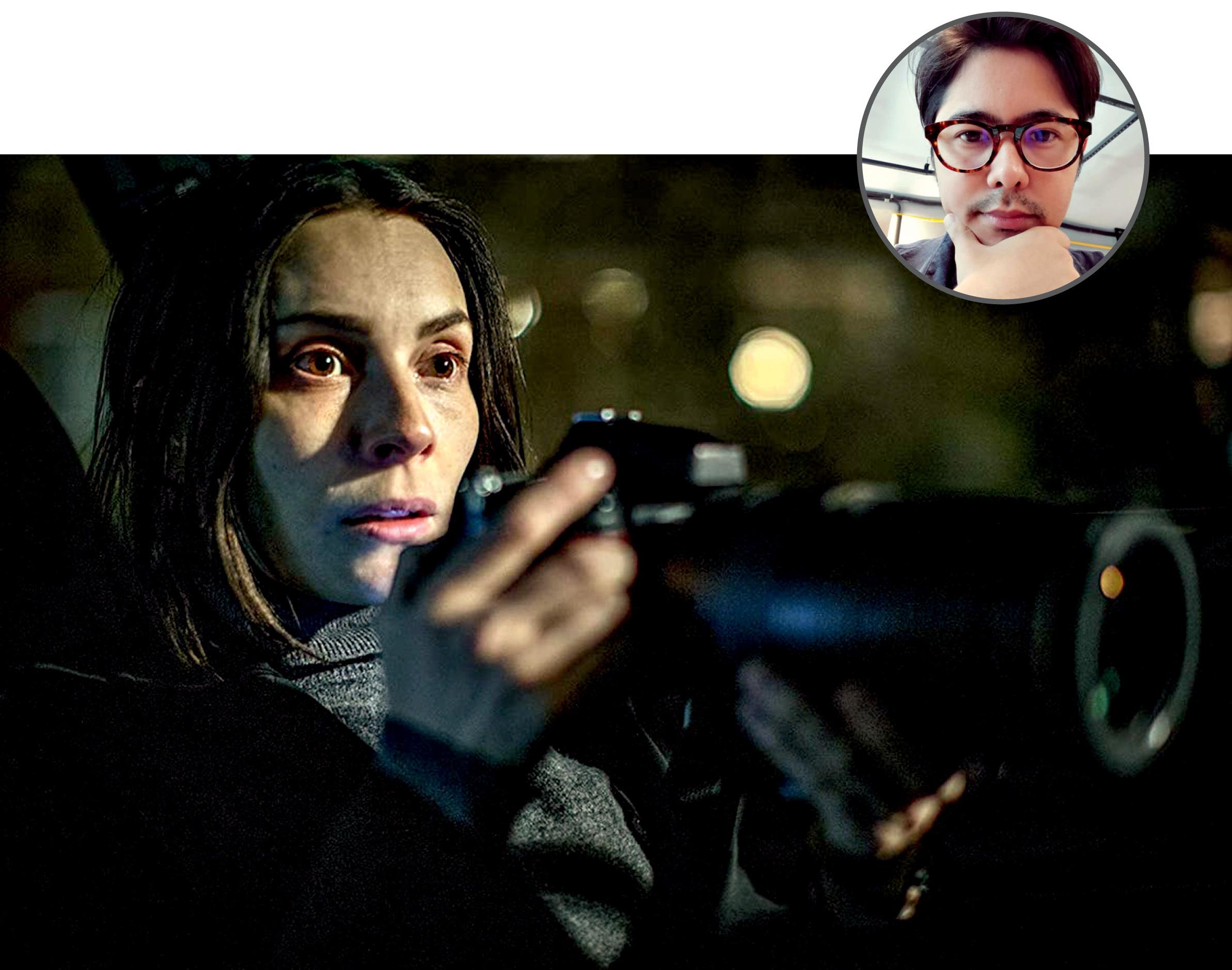 Foto de Vinicius com uma imagem ilustrativa da série Califado