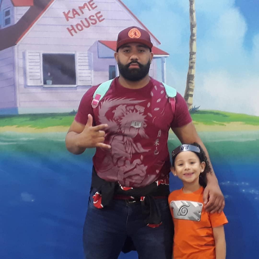 O lutador Diego e a filha Helena no Anime Friends em 2019: fãs de carteirinha das animações