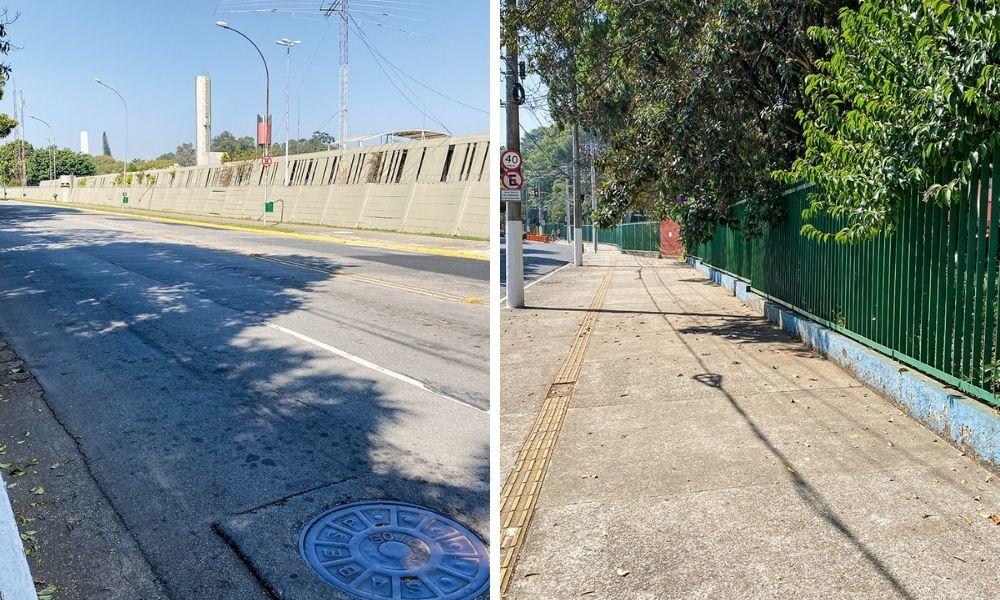 Entorno do ginásio Ibirapuera. Grades e arames farpados.