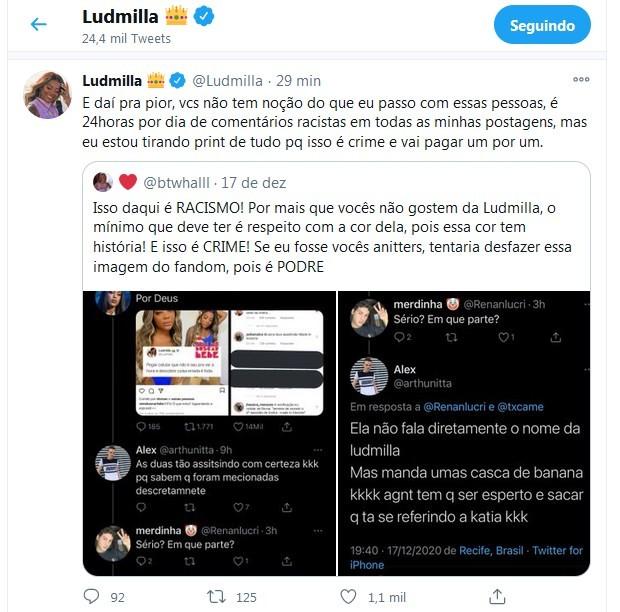 Tweet de Ludmilla sobre o caso