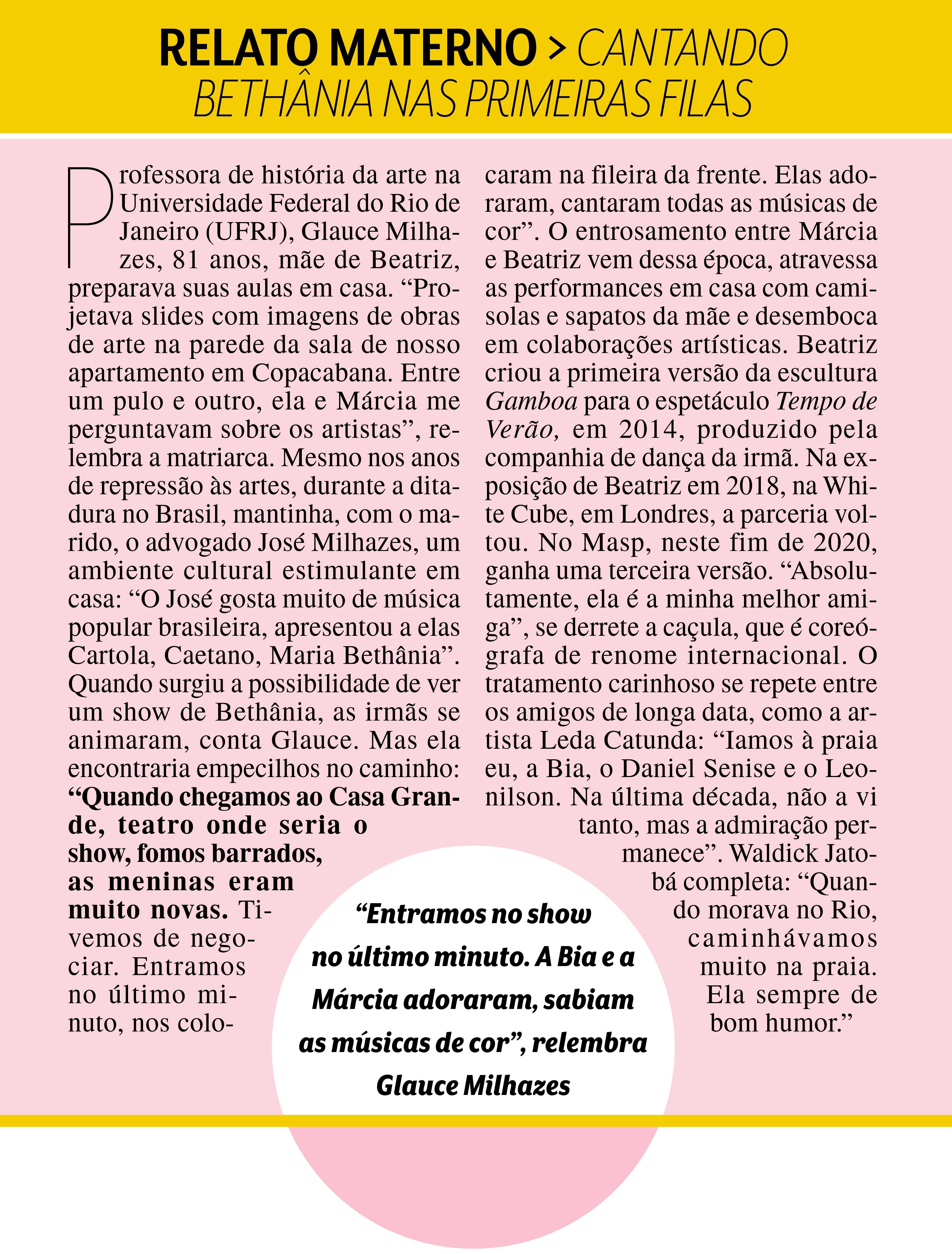 Relato materno: depoimento da mãe de Beatriz, Glaucia Milhazes, de 81 anos