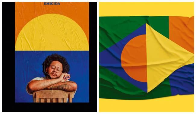 Materiais da identidade visual do álbum Emicida: referências modernistas e periféricas