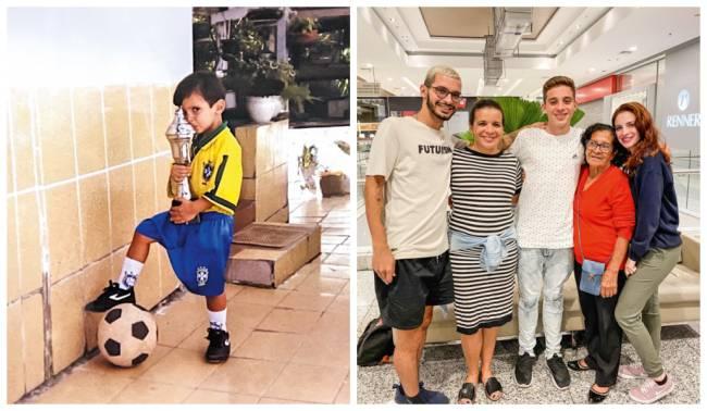 Lucas novinho e com a família, a mãe, Rosemeire, o irmão, a avó e a irmã