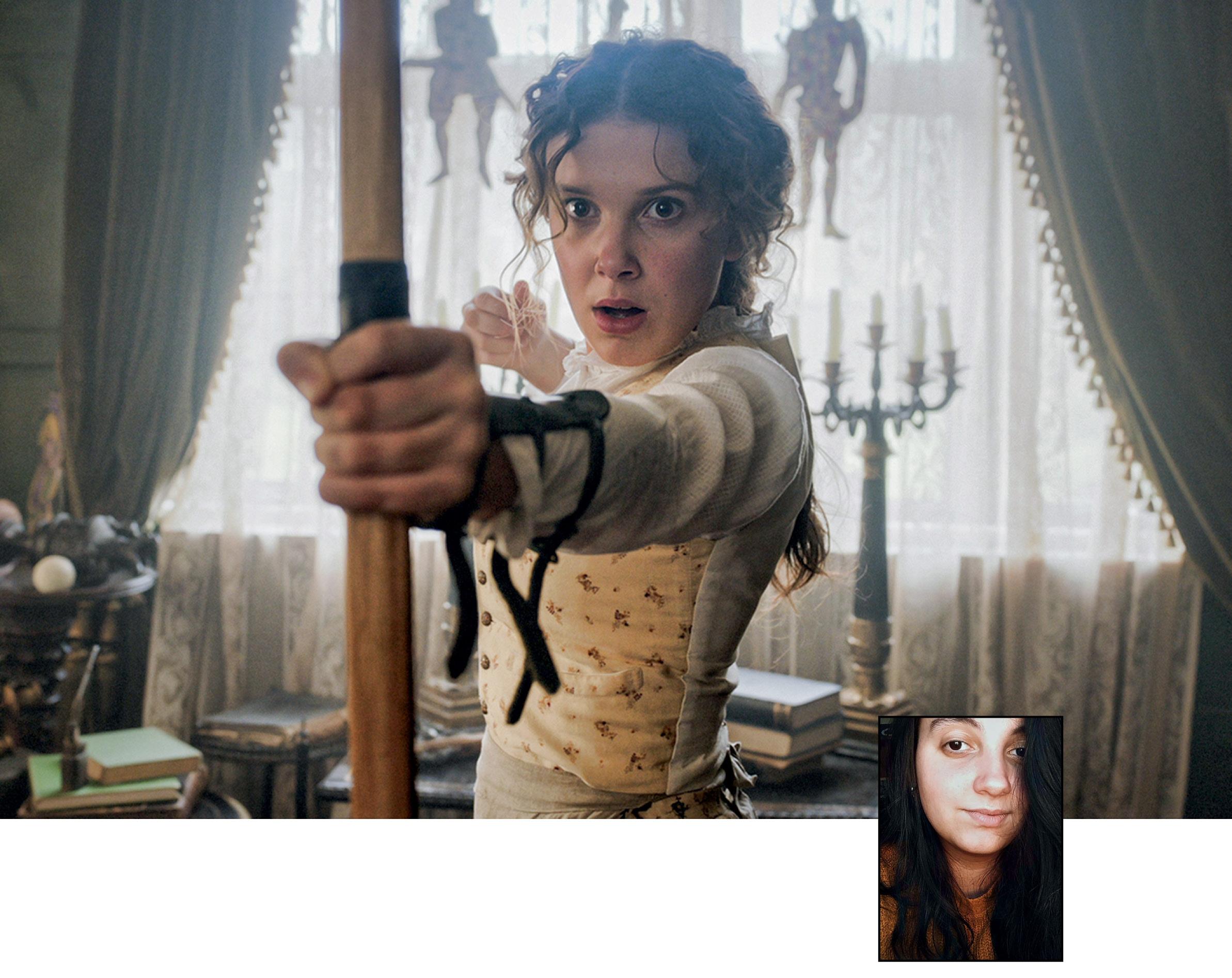 Foto ilustrando Enola Holmes e uma pequena foto de Alice