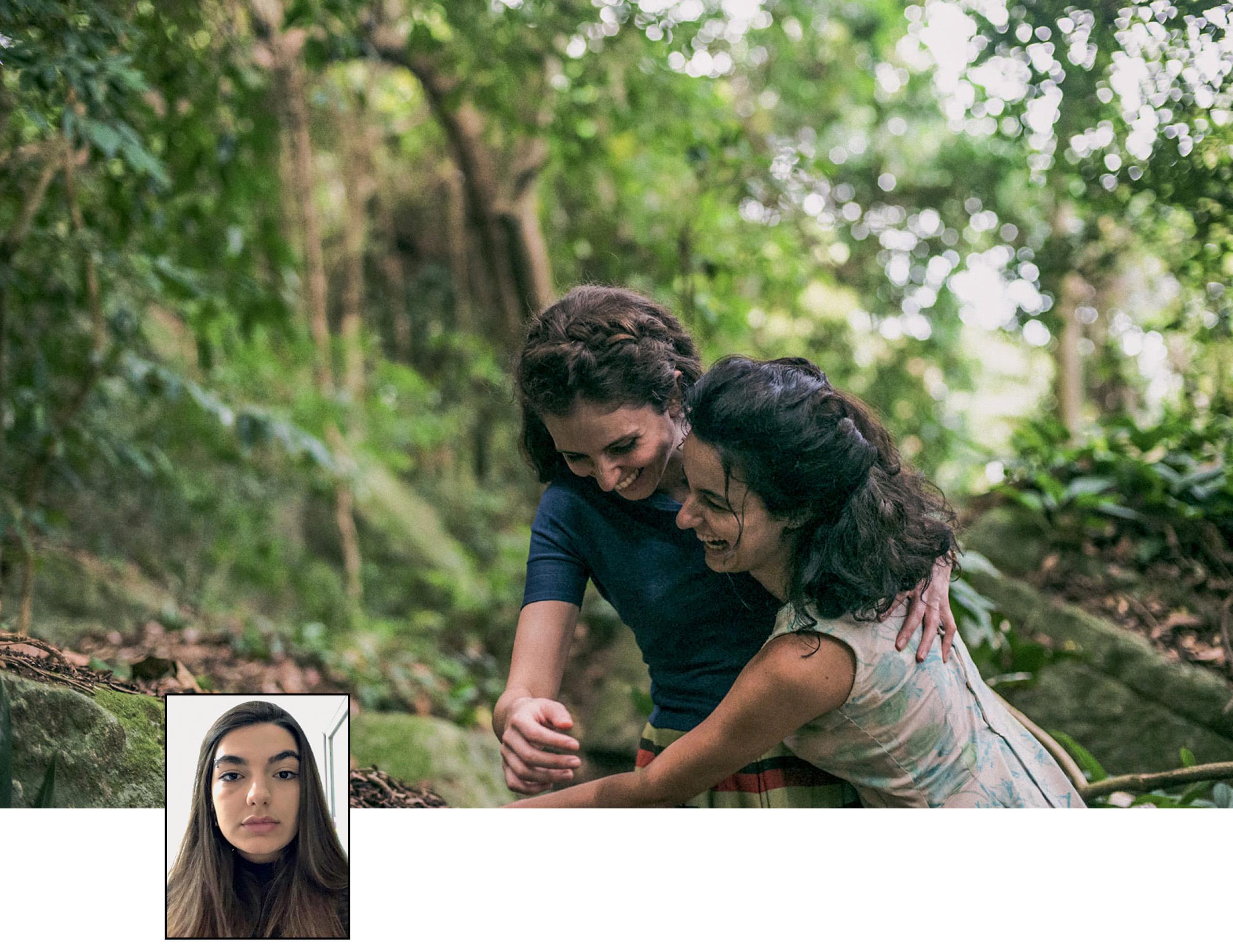 Foto ilustrando A Vida Invisível e uma pequena foto de Gabriela