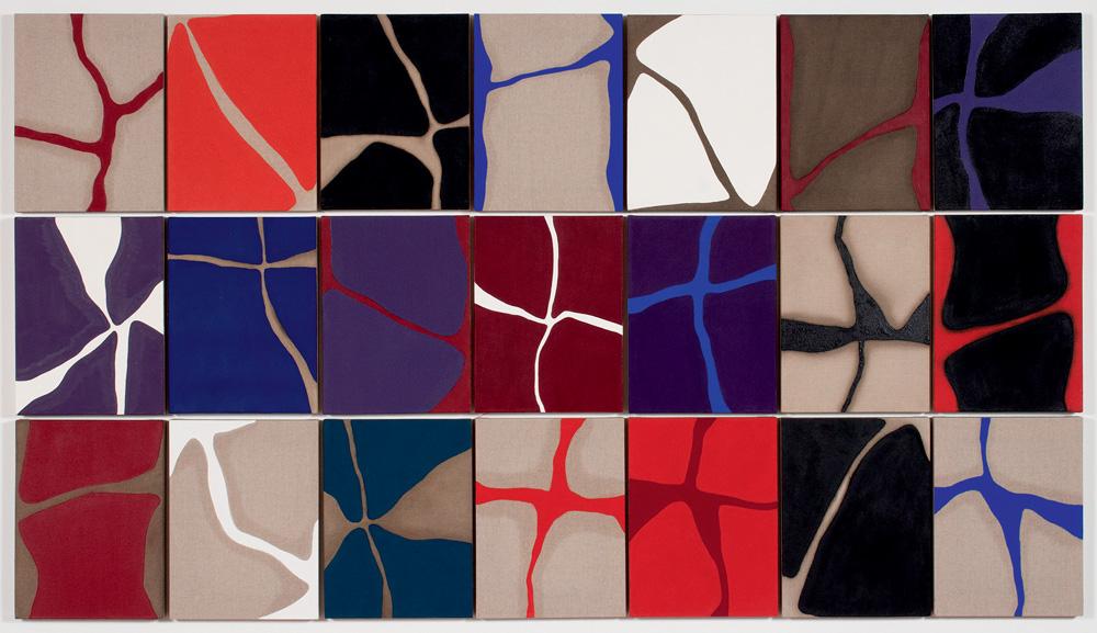 Obra com vários retângulos coloridos e linhas atravessando eles