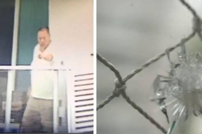 Homem vizinho atira objetos
