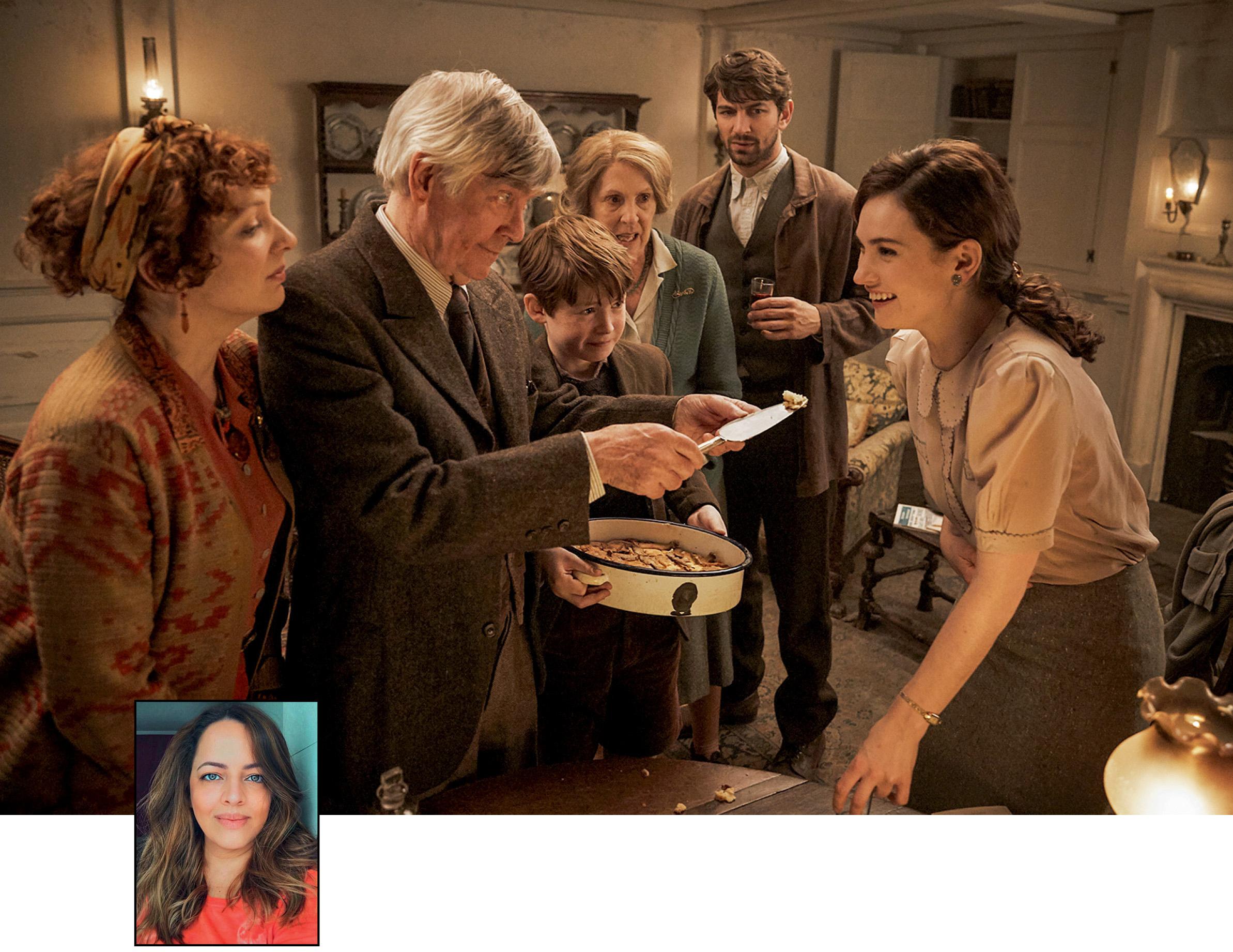 Foto ilustrando A Sociedade Literária e a Torta de Casca de Batata e uma pequena foto de Juliana