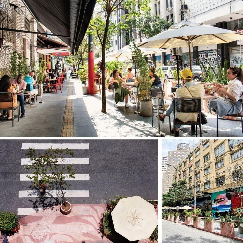 Mesas de restaurantes próximos as ruas