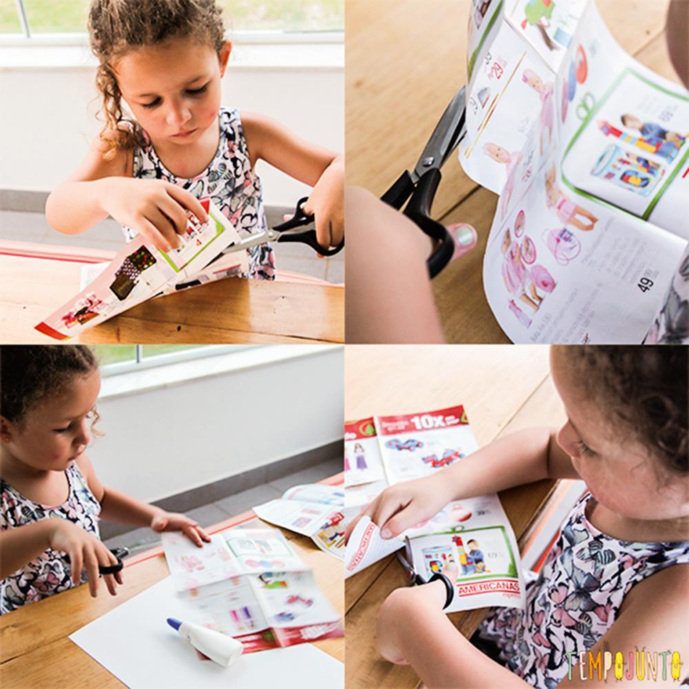 Quatro imagens de uma criança recortando uma revista