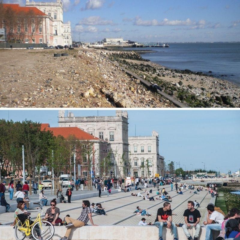 Ribeira das Naus, antes e depois