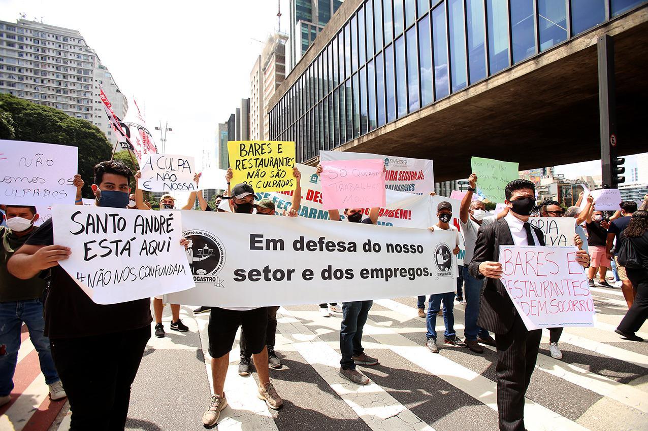 Protesto realizado à tarde: com integrantes do Sinthoresp