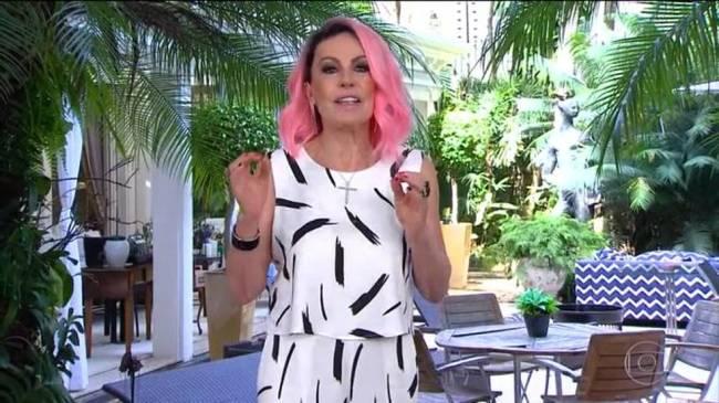 Ana Maria Braga: cabelo rosa em homenagem a São Paulo
