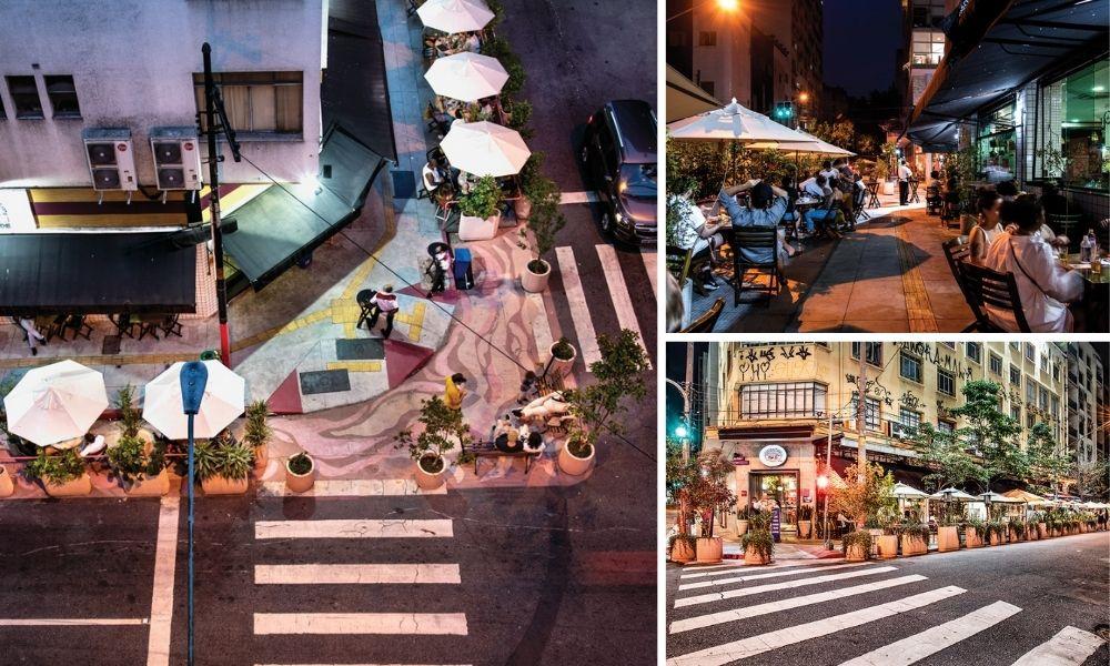 esquinas e ruas com ocupação dos restaurantes