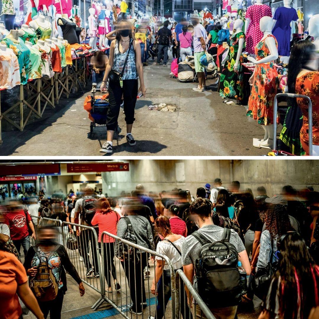 Feira da madrugada do Brás, cheia de pessoas, na imagem de cima. Na imagem de baixo, o metrô da Luz também cheio