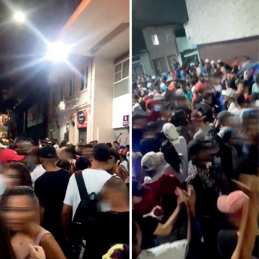 Duas fotos de aglomeração