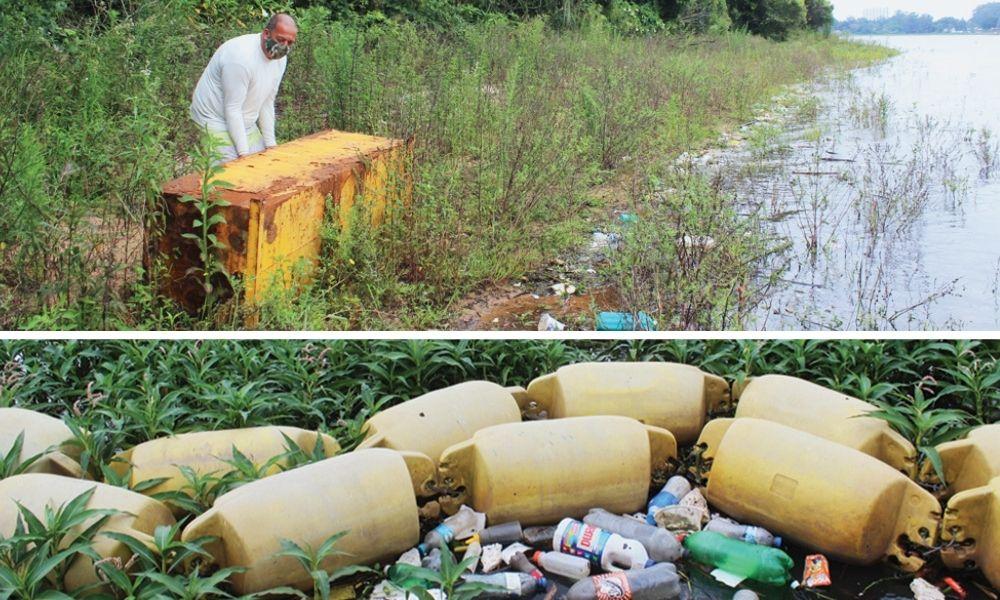 Duas fotos: uma caixa de metal sendo arrastado e lixo no Guarapiranga