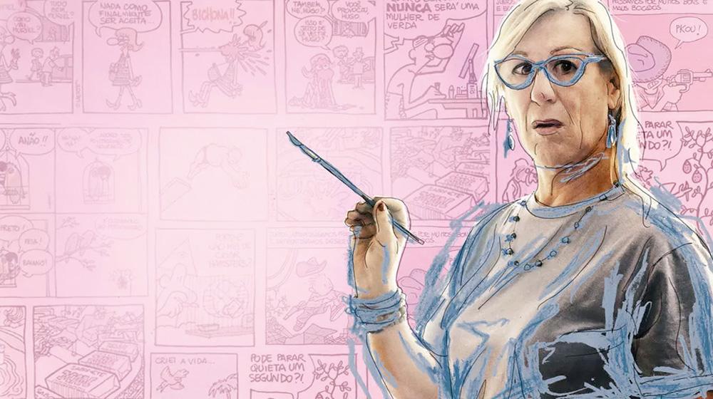 A cartunista Laerte em um fundo com seus quadrinhos