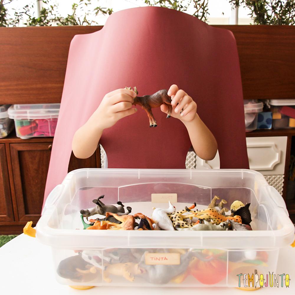 Uma criança por traz de um papelão tentando adivinhar qual brinquedo está em suas mãos. Além disso, uma caixa de brinquedos na mesa em sua frente