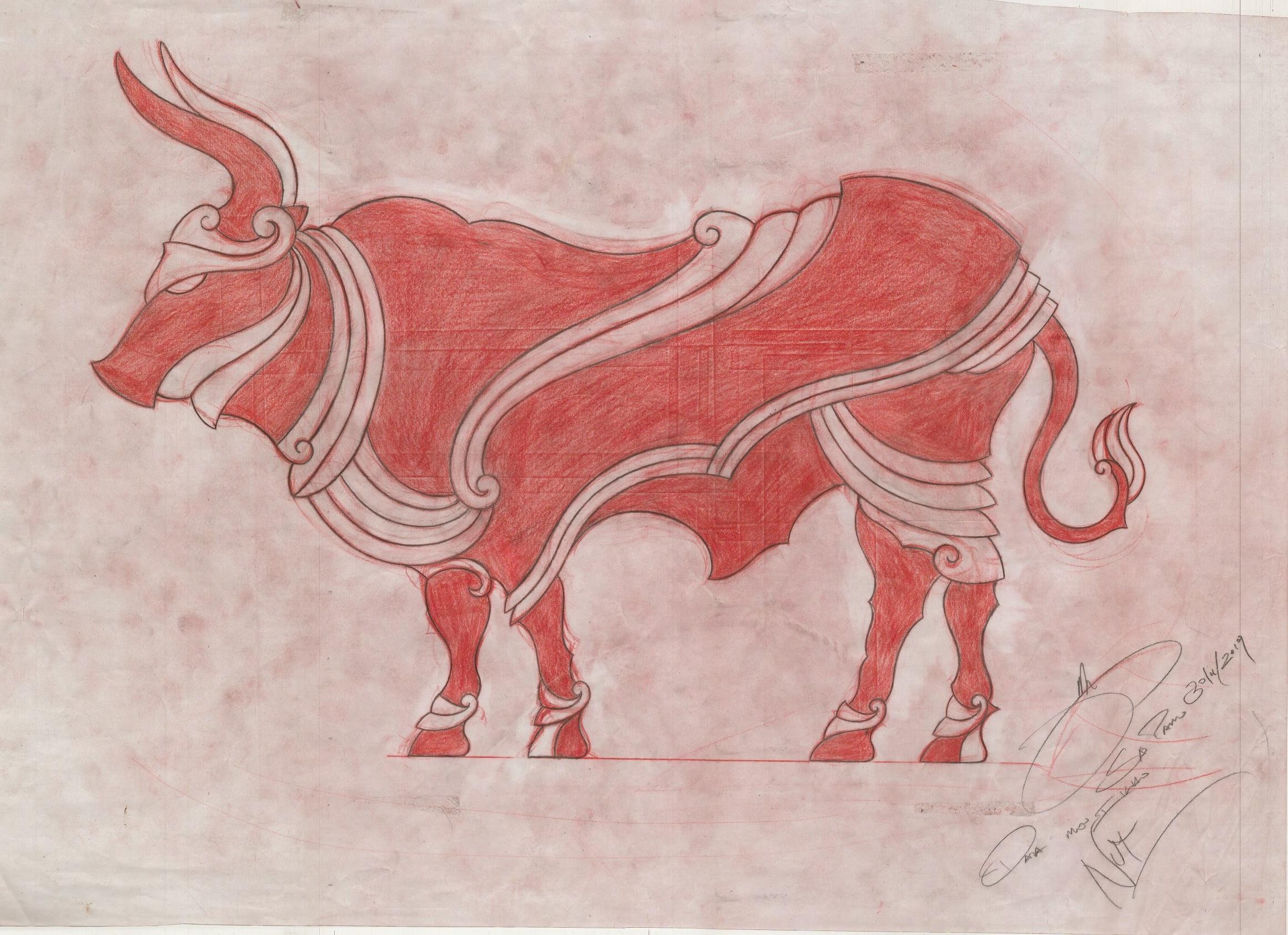 Ilustração de Jun Matsui inspirada no boi, do ano-novo chinês.