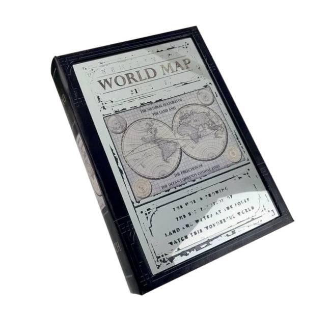 Caixa Livro Decorativa World Map Preta Espelhada do Extra