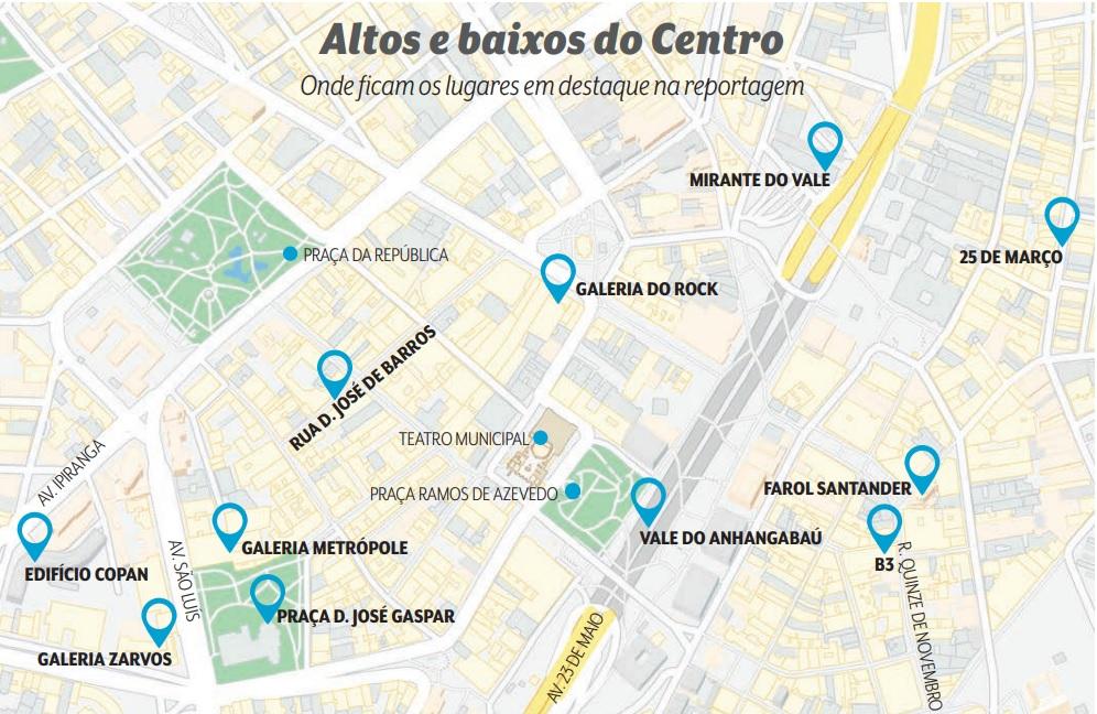 Mapa com altos e baixos do Centro