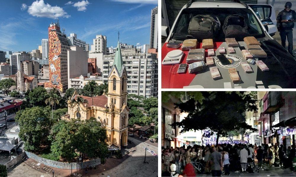 Montagem com a Praça da República, ao lado superior direito, um carro da polícia com drogas no capo e, em baixo, aglomeração de pessoas no Centro
