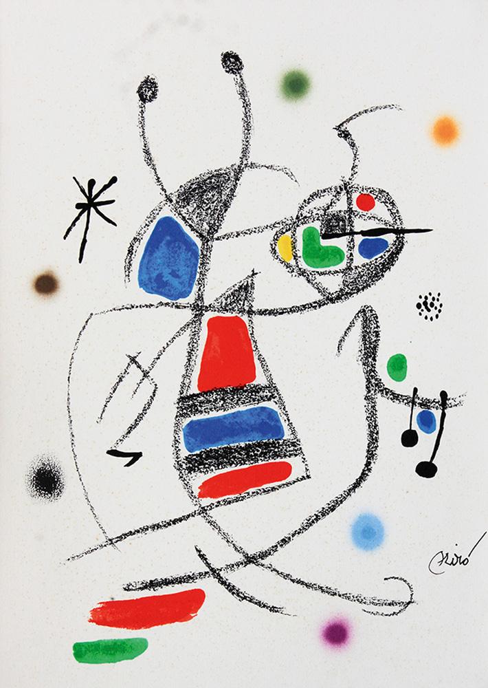 Litografia do artista Joan Miró, com traços, formas e cores vivas