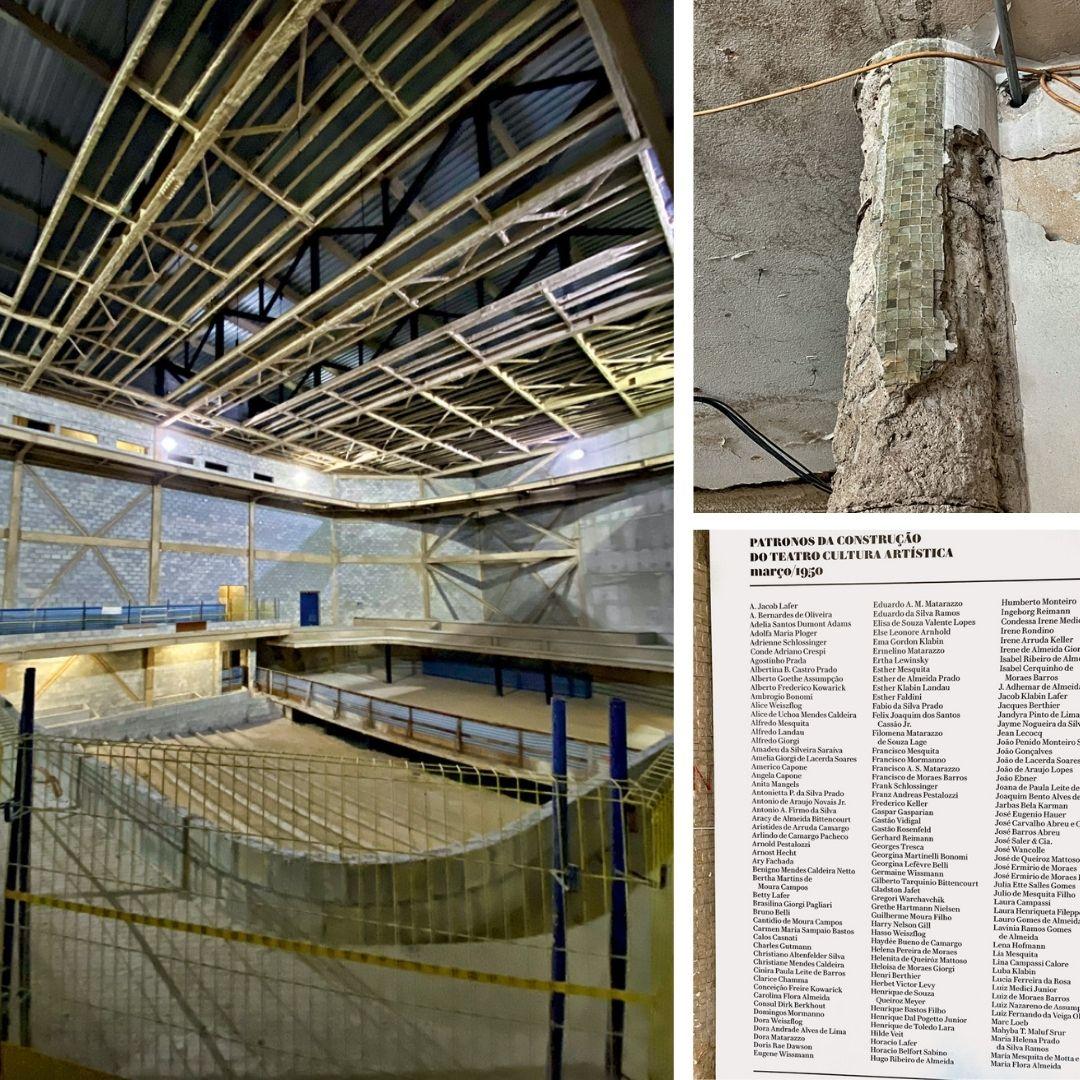 Canteiro de obras dentro do prédio do Cultura Artística. Na imagem à direita superior, uma pastilha da edificação. Na imagem à direita inferior, a lista com nomes dos doadores da primeira sede.