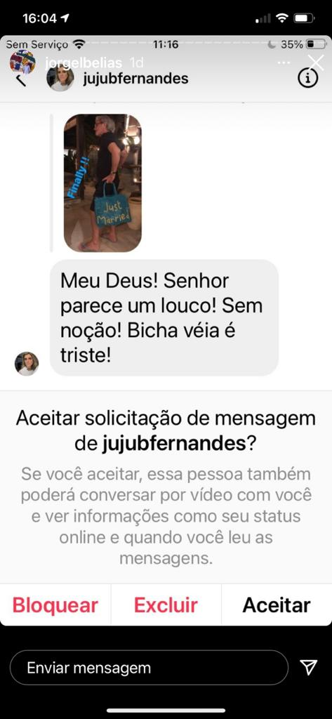 Registro de mensagem enviada a Jorge Elias pelo perfil de Juliana Fernandes.