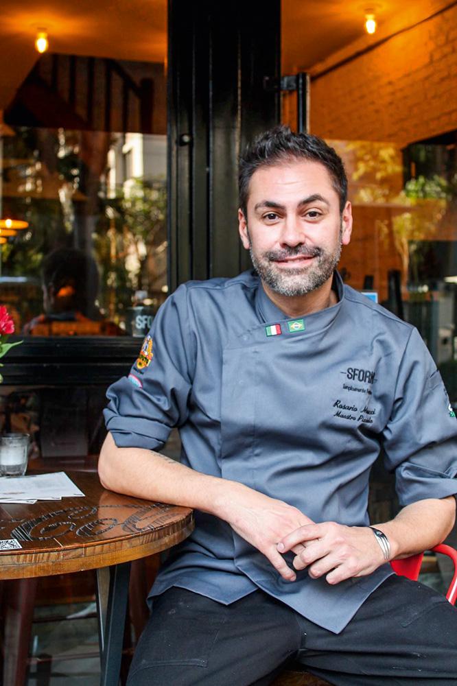 O italiano Rosario Minucci: chef do Sforno