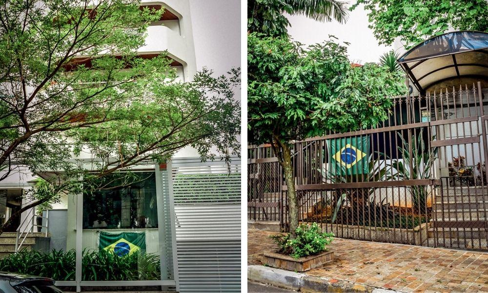 Bandeiras do Brasil espalhadas pelos prédios