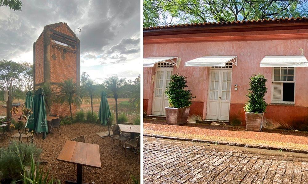 Uma imagem distante e outra próxima do restaurante piracicabano