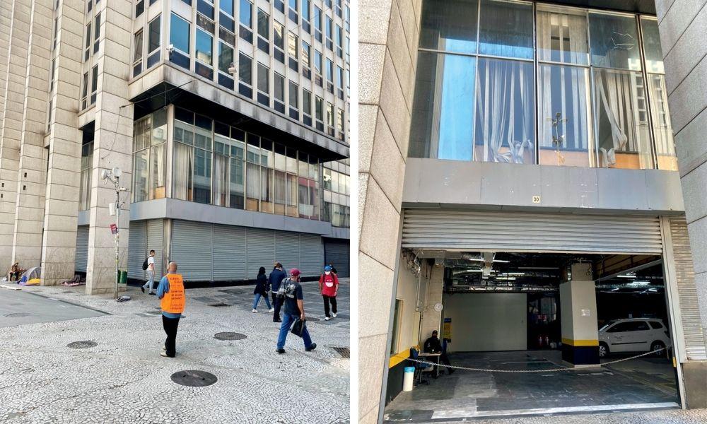 Térreo fechado no centro administrativo do Tribunal de Justiça: à direita, a garagem improvisada na Praça do Patriarca