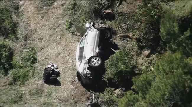 visão aérea do carro de tiger woods