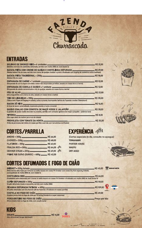 Cardápio - Fazenda Churrascada