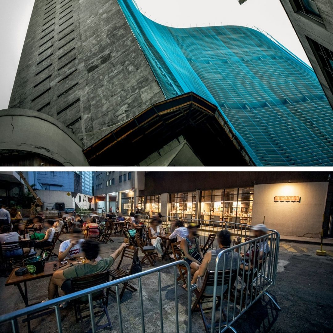 Na parte superior, foto do prédio do Copan, com rede azul cobrindo o edifício. A baixo, Copanzinho com pessoas no restaurante