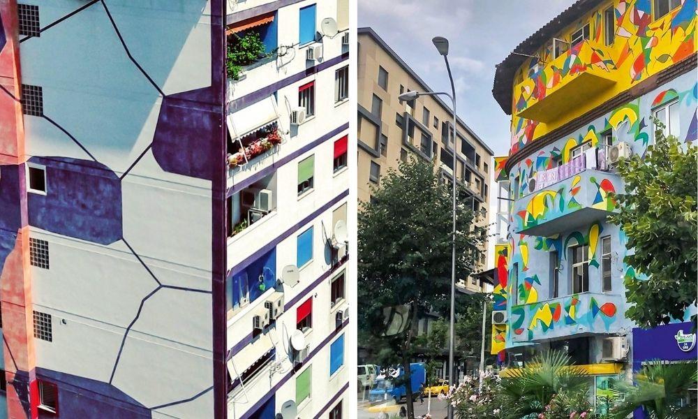 Faixadas de prédio da capital da Albânia