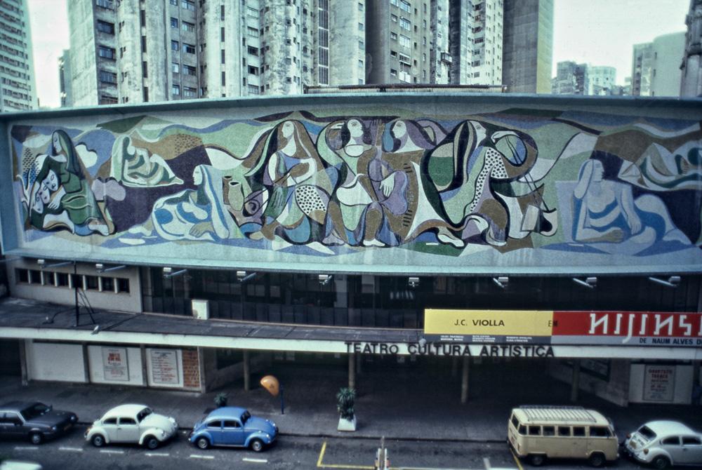 Foto fronto do prédio da Cultura Artística, com o desenho do painel de Di Cavalcanti