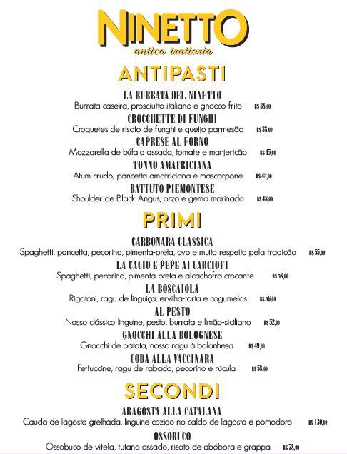 Ninetto - menu