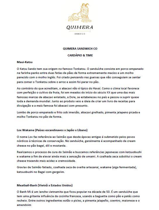 Quimera - Menu